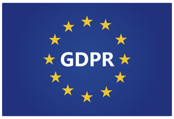 GDPR - General Data Protection Regulation. EU flag with stars