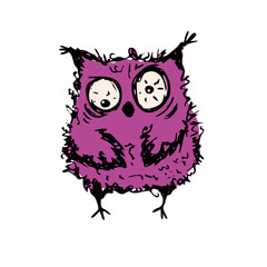 Cute crazy owl,hand drawn mascot