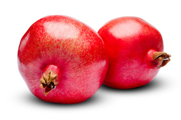 Pomegranates isolated on white. clipping path