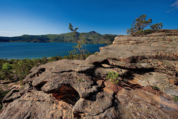 Eastern Kazakhstan, the rocky shores of the lake in the national Park of Bayanaul