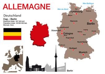Allemagne - carte - symbole - drapeau - Berlin - monument - présentation - pays - Allemand