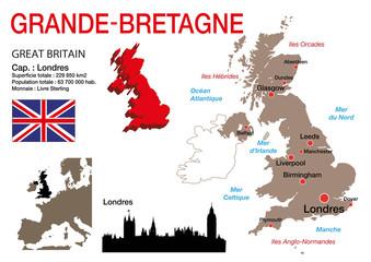 Grande-Bretagne - carte - symbole - drapeau - Royaume-Uni - Londres - Angleterre - monument - présentation - pays