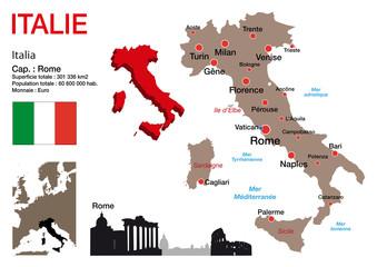 Italie - carte - symbole - drapeau - Rome - monument - présentation - pays