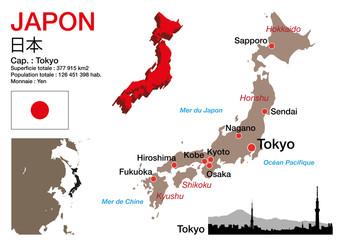 Japon - carte - symbole - drapeau - Tokyo - monument - présentation - pays - japonais - ville