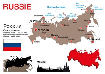 Russie - carte - symbole - drapeau - Moscou - monument - présentation - Kremlin - pays - russe
