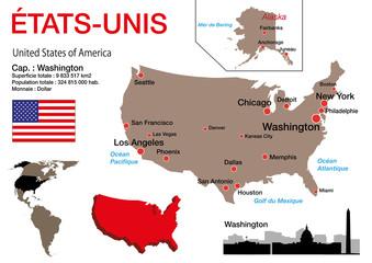 États Unis - carte - symbole - drapeau - USA - Washington - monument - présentation