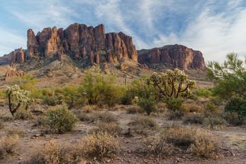 Sunset approaches the Arizona landscape