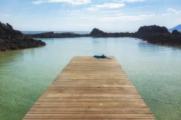 Empty jetty at the lagoon of Los Lobos island near Fuerteventura