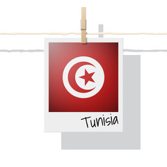 African country flag collection with photo of Tunisia flag , vector , illustration