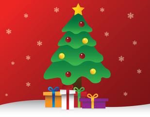 Christmas Tree with Christmas Present Boxes