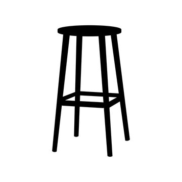 Chair symbol on white background.Bar Stool icon Element In Trendy Style. Vector flat illustration EPS