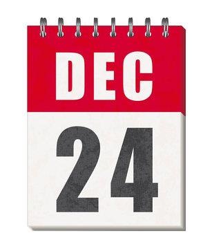24 Décembre. Christmas eve. Page of calendar.