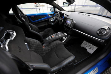 Inside view of the new Alpine A110 sports car during the inauguration of the new production line in Dieppe, France