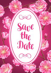 Background with sakura or cherry blossom. Save the date. Floral japanese ornament of blooming flowers