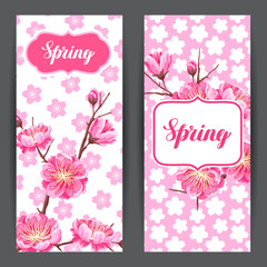 Spring banners with sakura or cherry blossom. Floral japanese ornament of blooming flowers
