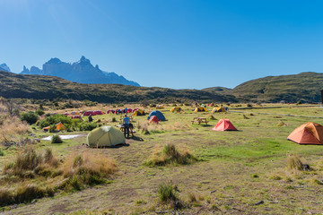 Camping site at Torres del Paine National Park in Autumn, Patagonia, Chile