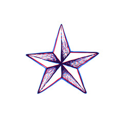 vector hand drawn star shape.