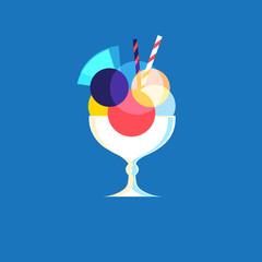 Vector icon of bright tasty ice cream