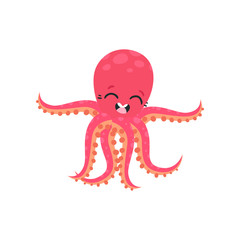 Cute six-tentacled octopus with smiling face expression. Marine animal. Cartoon character of sea creature. Flat vector design for kids print, sticker, card or poster