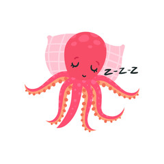 Cartoon pink octopus sleeping on soft pillow. Adorable cartoon character of mollusk with six tentacles. Flat vector design for emoji sticker, greeting card or print