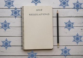 Winter background. 2018 resolutions.