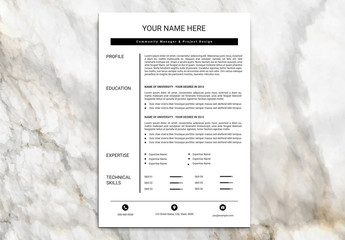 Minimalist Resume Set with Black Header Bar