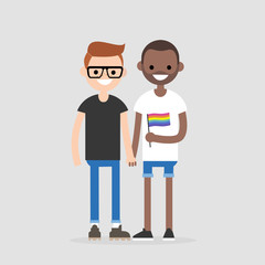 Interracial gay couple holding hands. LGBT rights. Love and relationships. Rainbow flag. Flat editable vector illustration, clip art
