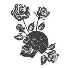 Human skull and roses tattoo vector illustration.