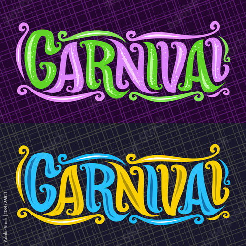 Vector Banners For Carnival Hand Lettering Typography Decorative