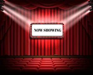 Red curtain and empty illuminated theatrical stage with white luminous banner and text now showing, realistic vector. Grand opening concept, performance event premiere poster, announcement template