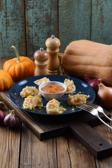 Vegetarian meal. Asian steam dumplings with curry sauce served with pumpkins and onion on rustic background