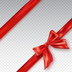 Realistic red bow and ribbon isolated on checkered background. Template for greeting card, poster or brochure. Vector illustration.