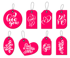 Collection of hand drawn cute gift tags with the inscription I love you. Valentines Day, marriage, wedding, birthday, love, romantic theme