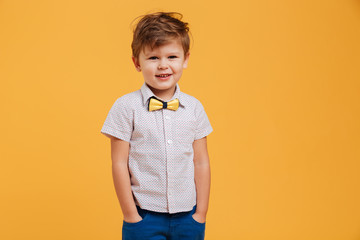 Happy little boy child standing isolated