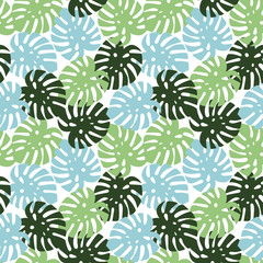 monstera blue, light green and dark green leaves tropical summer paradise pattern on a white background seamless vector