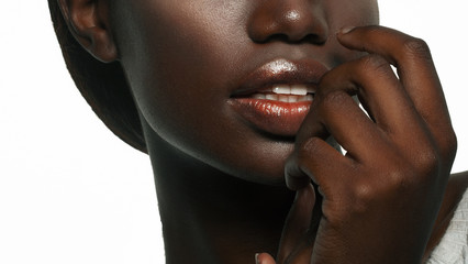 Fashion makeup. Close-up of  lips African American young woman.