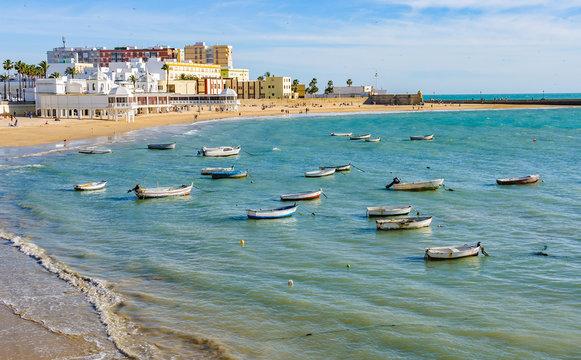 Boats in the harbour in Cadiz,  Spain