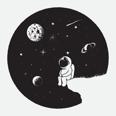 Astronaut looks to universe.Space vector illustration.Prints design for dress