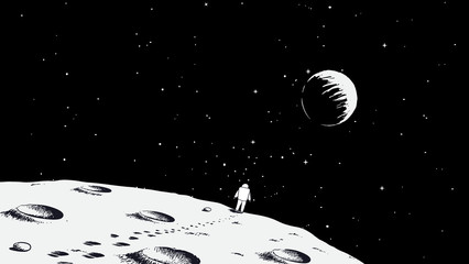 Astronaut walking on Moon.Earth is visible far away.Drawing style.Space vector illustration