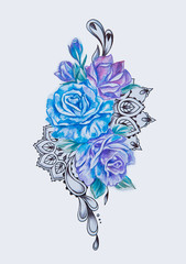 Sketch of a branch of purple and blue flowers on white background.