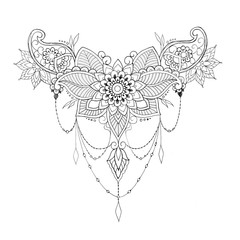 Sketch flower with ornament on white background.