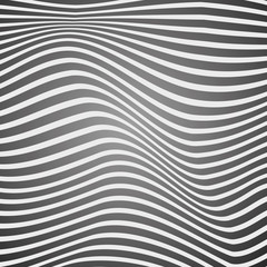 Black and white curved lines, surface waves, abstract vector design
