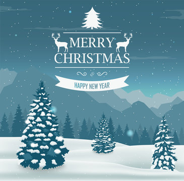 Merry Christmas and Happy New Year greeting card. Winter landscape with snow trees. Vector
