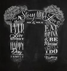 Wedding arch backdrop love story chalk