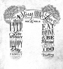 Wedding arch backdrop love story white