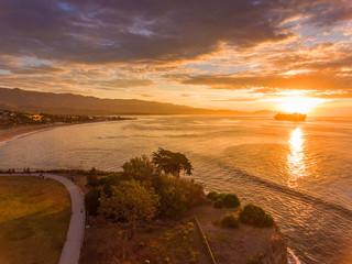 aerial view of cruise ship off Santa Barbara, California at sunrise