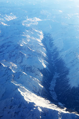 Aerial view of the Swiss Alps, seen from the plane