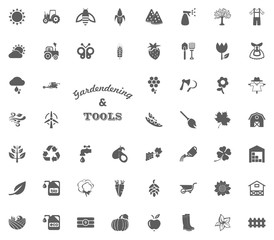 Gardening and tools text letter icon. Gardening and tools vector icons set