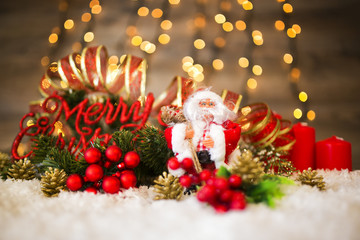 Christmas decoration with Santa Clause and snow