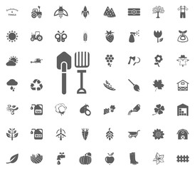 Forks and shovels icon. Gardening and tools vector icons set
